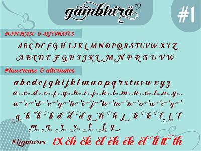 The Character of Gambhira design display font handwrite font letters typography font branding