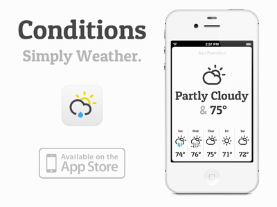 Meet 'Conditions for iOS', a new minimalistic weather app by me! minimalistic weather ios app cloud thunder icon simple typography iphone