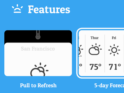 Conditions for iOS Website minimalistic weather ios app cloud thunder icon simple typography iphone website site web pull-to-refresh