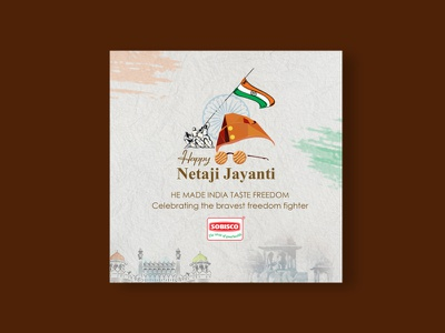 India Freedom Fighter Netaji Birthday Creative ux ui logo branding typography design print vector illustration graphic design