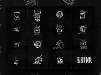 Thirty Logos : The Grind - Concept Sketch logo designer logo design logo sketch sketching sketches logo design process sketch logo behind the scenes