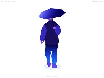 Umbrella Man - Vector visual geometric illustration shapes shape glow gradient design graphics affinity designer