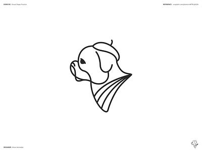 Visual Shape Exercise Dog 02 stroke lines geometric graphics process sketch shapes affinity designer shape logo design