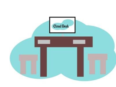 Cloud desk vector logo branding
