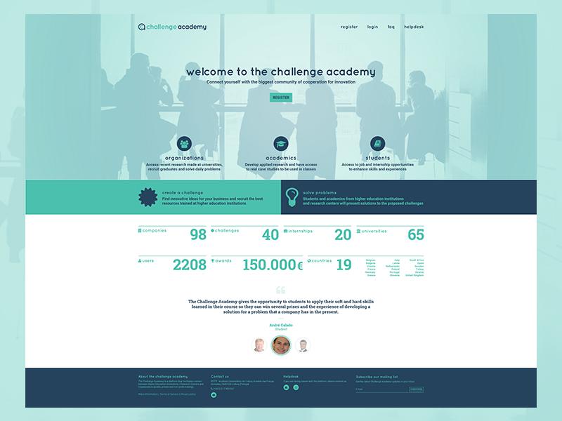 Challenge Academy homepage redesign crowdsourcing university redesign homepage