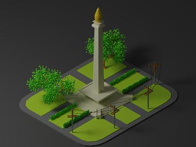 Monas bogor indonesia jakarta design monas 3d illustration isometric 3d modeling graphic design 3d