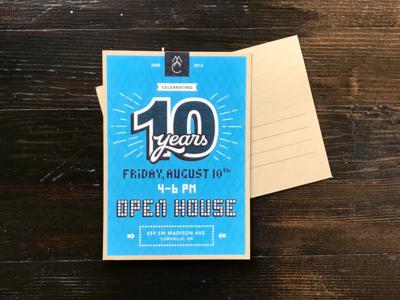 Anniversary Invitation mailer invitation invite kraft postcard 10 years anniversary