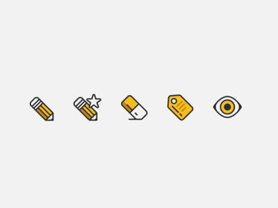 Pencil Icons icon icons design illustration iconography pencils icon design icons set icons for-sale tag eraser eye pencil
