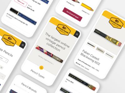 Brand Name Pencils Mobile phone pencils mobile design mobile web website ui  ux design ui uidesign