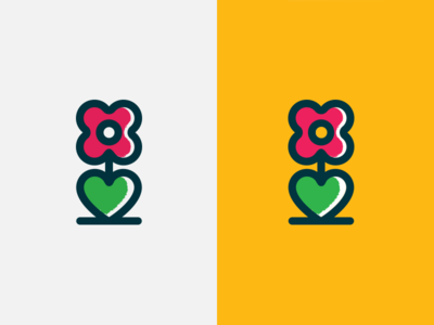 Flower Logo Icon nature blooming bloom icon artwork reject grow growth heart love flower logo iconography icon