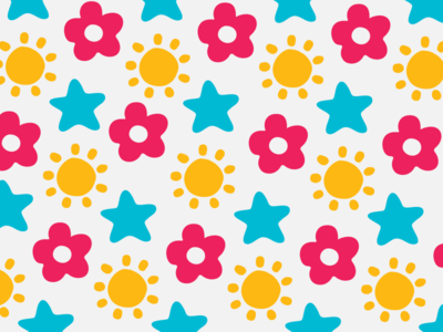 Logo Pattern cheerful bright patterns fun playful stars star sunshine sun flowers flower icons pattern