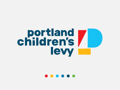 portland Children's levy letter bright primary colors kids youth youthful children logo design logotype letter icon p icon logo