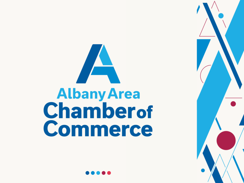 Albany Area Chamber of Commerce logo design corporate branding a letter a icon logo