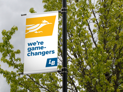 Linn-Benton Community College Pole Banners roadrunner signage design college pole banners banners signage