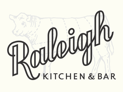 Raleigh 2 raleigh script kitchen bar cow type typography lettering r logo