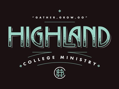 Highland lettering monogram logo badge ministry college highland