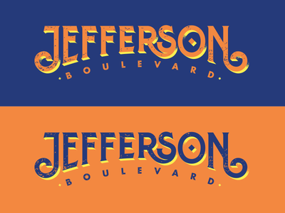 Jefferson Boulevard logo dimensional shadow shadow lettering typography boulevard jefferson