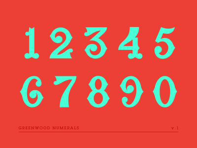 Greenwood Numerals WIP greenwood hand lettering type glyphs typography lettering numerals numbers