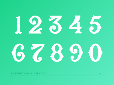 Greenwood Numerals V2 type typography lettering numbers numerals greenwood