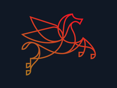 Fly Birdie dallas pegasus horse icon drawing line continuous illustration
