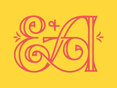 E & A ligature serif monogram drop cap lettering a e