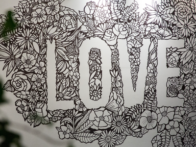 Love Can Mural exhibition branding mural drawing illustration design botanical art botanical