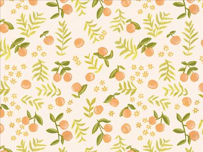 Clementine Pattern Design branding surface pattern pattern floral clementine illustration art design orange