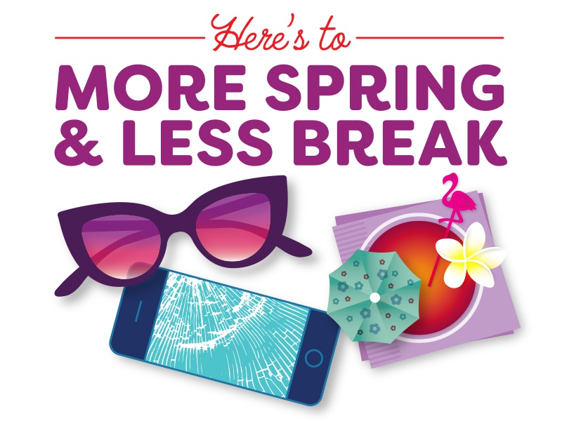 Spring Break typography illustrator illustration flower holiday vector tropical flamingo vacation spring sunglasses cocktail smartphone iphone spring break