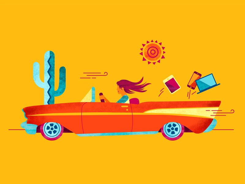 Roadtrip texture illustration illustrator photoshop driving sun cactus desert southwest summer roadtrip car vector