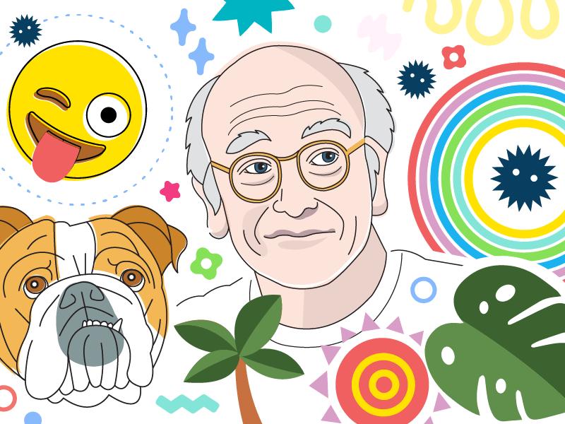 Confetti Header Image bulldog larry david emoji illustration miyazaki dogs fun vector party shapes confetti