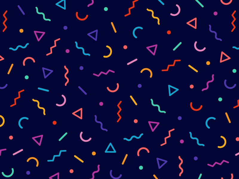 Party Pattern 🎉 monoline colorful repeat pattern shapes illustration party fun confetti holiday illustrator bright vector