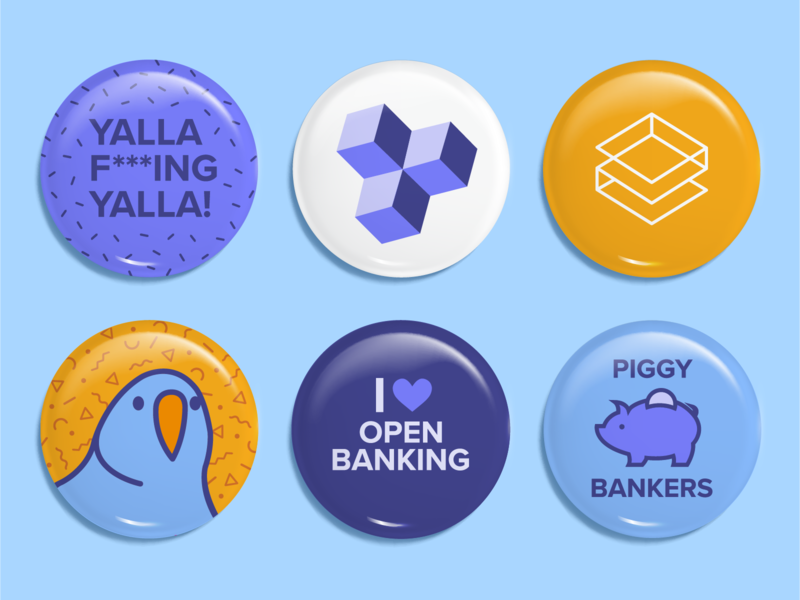 TrueLayer Buttons open banking illustration branding confetti api party parrot pattern vector illustrator technology banking swag fintech badges buttons