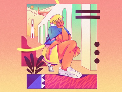 Character design - abstract comic - 1 gradients bright colors composition dribbble character design design color shapes character illustration