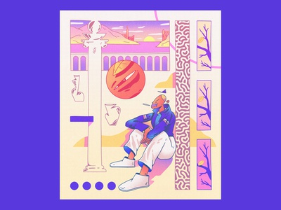 Character design - abstract comic - 4 gradients abstract composition dribbble character design design color shapes character illustration