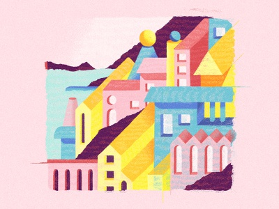 Maurilia invisible city building coast city abstract composition shapes color illustration
