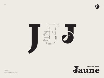 Seafood Restaurant - Jaune identity mark illustration design icon typography branding vector logo
