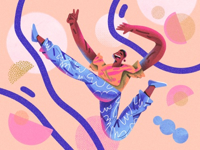 Jump Higher ! bright colors abstract composition dribbble web design character design shapes color character illustration