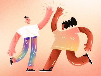 High Five bright colors gradients composition web dribbble design character design shapes color character illustration