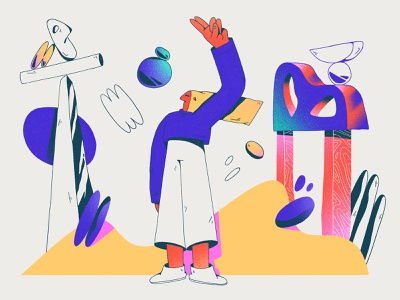 explorer in a strange world bright colors experimentation gradients web abstract composition dribbble design character design shapes color character illustration