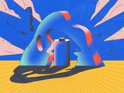 surreal landscape ladscape scene surrealism faces experimentation gradients abstract web composition dribbble design shapes color character illustration