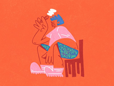 Thinker abstract dribbble design character design shapes color character illustration