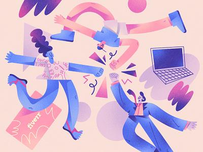 Illustration for Fiverr composition dribbble design character design color shapes character illustration