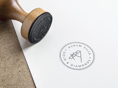 Aurum Villa brand diamonds gold clean stamp logo