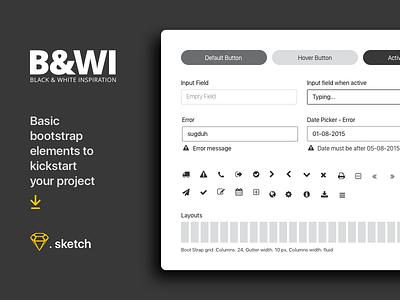 B&W UI elements - Freebies basic elements ui blackwhite simple clean sketch freebies
