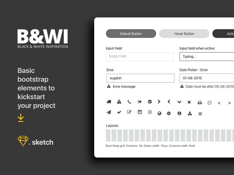 B&W UI elements - Freebies basic elements ui blackwhite simple clean sketch freebies