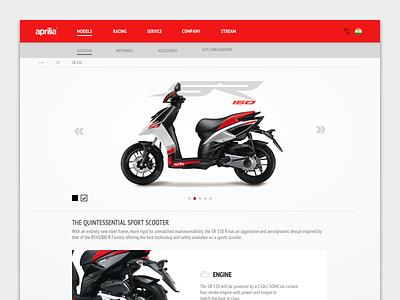 Aprilia SR 150 app branding design ecommerce flat aprilia layout logo typography ui ux web