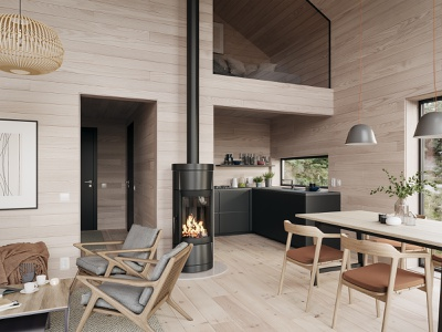 Neo Cabin cg redering design interior render visualization architecture cgi 3d