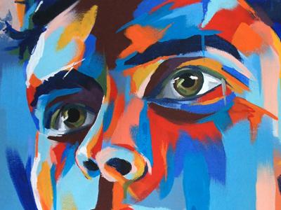 Hello Dribbblers! illustration acrylic painting portrait