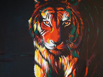 Searching predator acrylic tiger painting animal