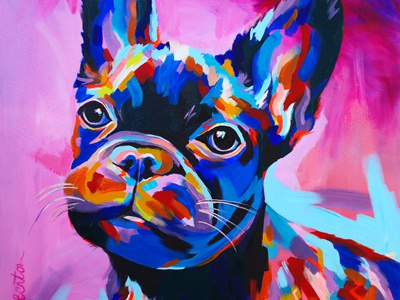 French Bulldog acrylic painting animal dog